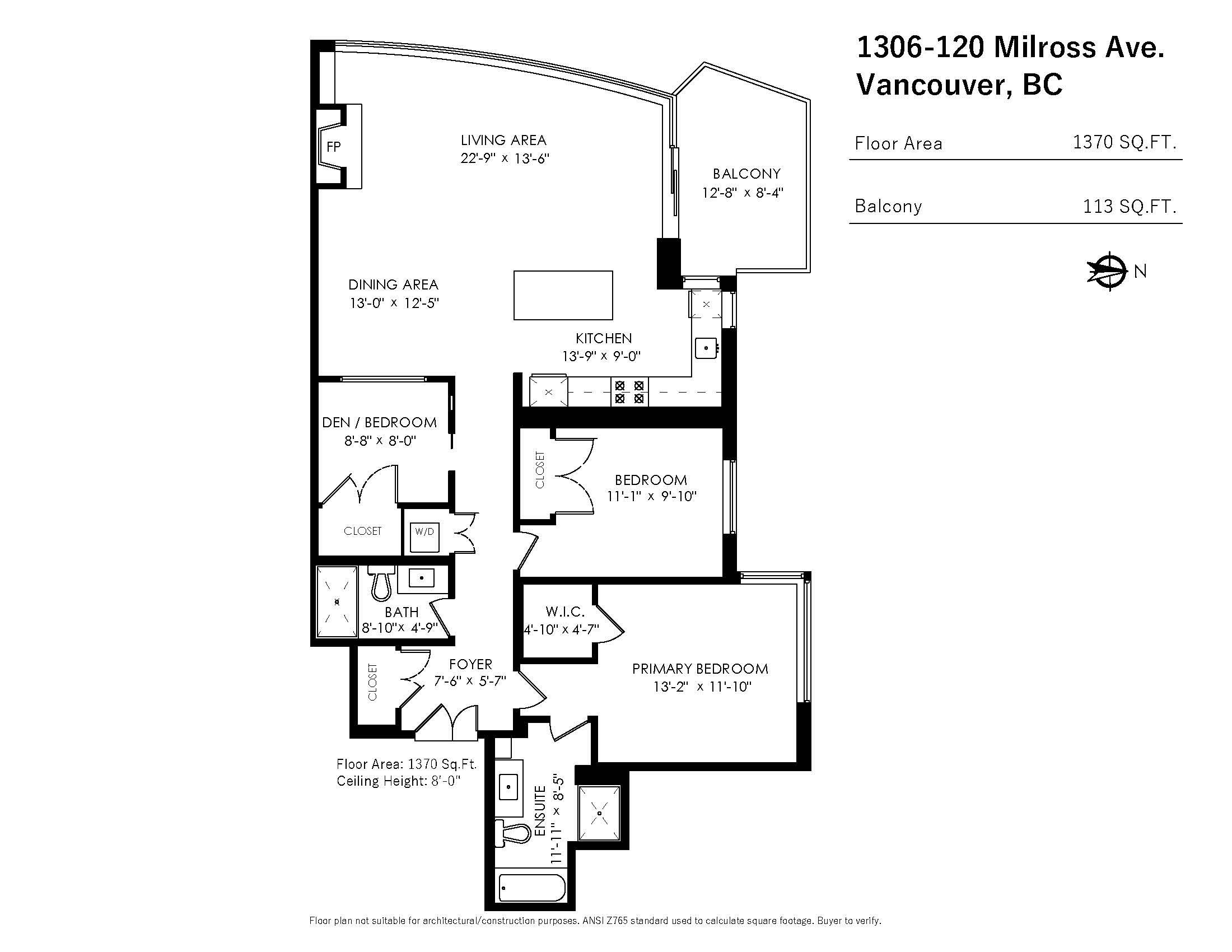 1306 120 Milross Ave - Floor Plan